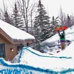 Όταν κάνεις την πίσω αυλή snowboard park