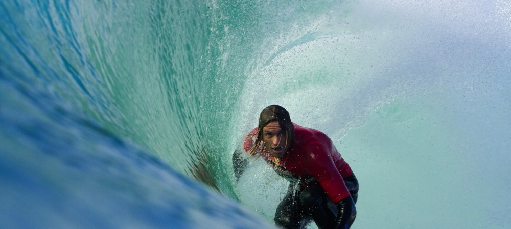 Laurie Towner performs at the Red Bull Cape Fear event at Cape Solander in NSW Australia on August 31, 2014